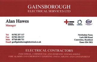 Gainsborough Electrical Services Ltd Business Card
